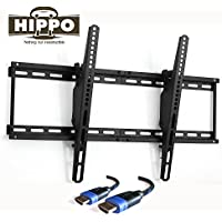 HIPPO TV Wall Mount Bracket for 42 43 45 48 49 50 52 55 60 63 70 LED LCD Plasma Flat Screen Up to 132 Lbs VESA 600x400 5 ft HDMI Cable