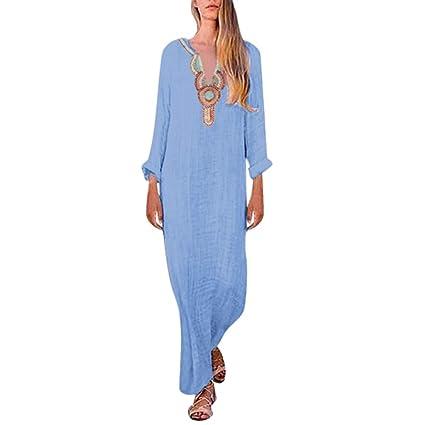 8305f423b11d1 Chiccc Women's Printed Long Sleeve V-Neck Maxi Dress Split Hem Baggy Kaftan  Long Dress Women's Summer Casual T Shirt Dresses Short Sleeve Swing Dress