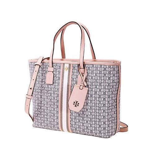 Tory Burch Gemini Link Canvas Small Tote in Coastal Pink Gemini ()