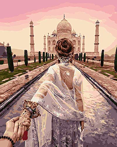 YEESAM ART New DIY Paint by Number Kits for Adults Kids Beginner - Taj Mahal Beauty's Back Holding Hands 16x20 inch Linen Canvas - Stress Less Number Painting Gifts (with Frame)