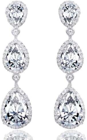 EVER FAITH Bridal Silver-Tone 3 CZ Teardrop Dangle Earrings Clear Austrian Crystals