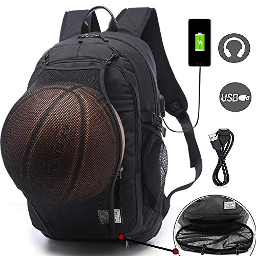 Basketball Backpacks Sports Bags for Football, Soccer with Ball Compartment Laptop Computer Backpack with USB Charging and Headphone Port Fit 15.6 Inch Notebook for Boys Men -
