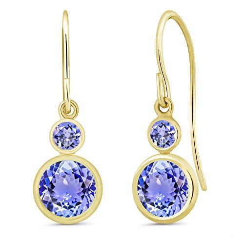 Gem Stone King 2.04 Ct Round Blue Tanzanite 14K Yellow Gold Earrings ()