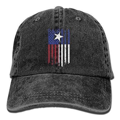 393b2be5d7e Unisex Adult USA Texas American Flag Washed Denim Retro Cowboy Style ...