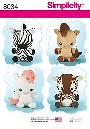 Simplicity Crafts Schnittmuster 8034 Giraffe, Zebra, Einhorn & Pony ...