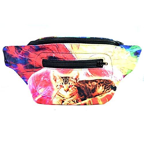 Santa Playa Acid Cat Fanny Pack, Boho Chic Handmade w/Hidden Pocket (Laser - On Cat Acid