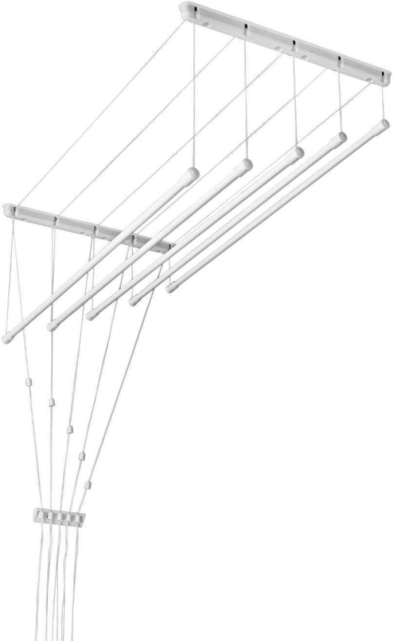 Blanco techo ropa secador-polea tendedero-fácil que puedes hacer tú instalar-5 varillas de L=120cm W=45