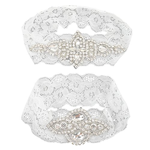 Sposa Prom Di con Strass Perla MagiDeal M Fiore Elastica Bianco Donna Ragazza Giarrettiera 2pcs Nozze Raso Bowknot in per tqwSnwTaC