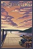 Burlington, Vermont - Dock and Sunset (12x18 Art Print, Wall Decor Travel Poster)