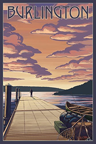 Sunset Dock - Burlington, Vermont - Dock and Sunset (12x18 Art Print, Wall Decor Travel Poster)