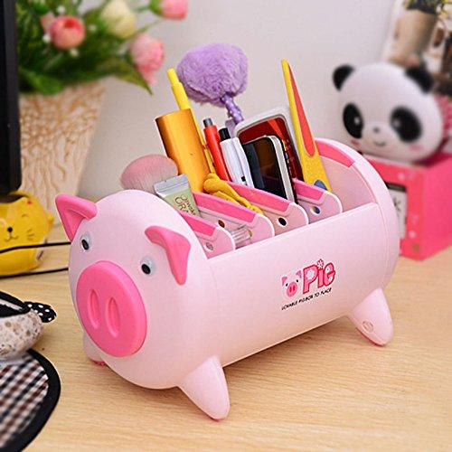 Shalleen Pink Pig Plastic Desk Organizer office Desktop accessories organizer Storage Box