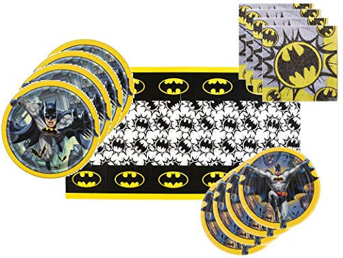 Batman Party Supplies Tableware Bundle for 16 Guests - Includes 16 Dinner Plates, 16 Dessert Plates, 16 Dinner Napkins, and 1 Tablecover -