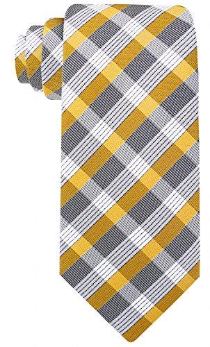 Check Stripe Ties for Men - Woven Necktie - Gold