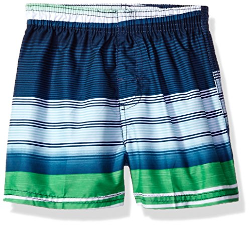 Kanu Surf Baby Boys Victor Stripe Quick Dry Beach Board Shorts Swim Trunk, Navy|Green, 18 Months