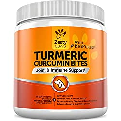 Turmeric Curcumin Treats for Dogs - For Strong Hip & Joint Health - Digestive & Immune Support Supplements with BioPerine & Organic Turmeric + Coconut Oil - 90 Duck Flavored Soft Chews