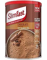 SlimFast Meal Shake, Chocoladesmaak, Nieuw Recept, 16 porties, 600 g, Afvallen en Uit houden