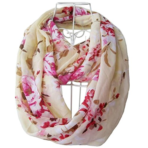 Review Tapp C. Multicolor Floral Print Infinity Scarf – Cream