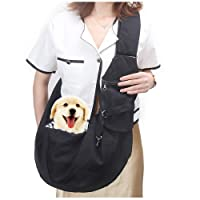 Texsens Pet Carrier, Small Dog Cat Sling, Hands Free Adjustable Breathable Strap Reversible Tote Bag with Front Pocket & Safety Belt, Carrying Small Dog Cat Puppy for Outdoor Travel