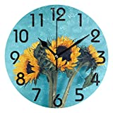 Naanle 3D Beautiful Four Bloom Sunflowers On Teal