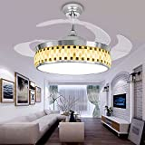 ac restaurant week - Leesville Modern Ceiling Fan Remote Control LED Bedroom Ceiling Fans Retractable Blades Crystal Chandelier Fan with LED Lights Kits, Quiet Fans 4 Acrylic Invisible Blades 42 Inch-Silver