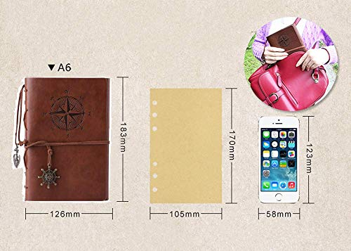 Leather Journal Refillable, MALEDEN Premium Spiral Notebook Classic Binder  Vintage Embossed Travelers Journal with Blank Paper and Retro Pendants