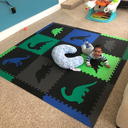 SoftTiles Children's Foam Playmat - Jurassic Dinosaur Theme - Non-Toxic Interlocking Floor Tiles for Toddler Playrooms/Baby Nursery - Black, Blue, Green, Lime, and Gray (6.5' x 6.5') SCDBGLG by SoftTiles (Image #4)