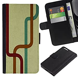 Be Good Phone Accessory // Caso del tirón Billetera de Cuero Titular de la tarjeta Carcasa Funda de Protección para Apple Iphone 6 PLUS 5.5 // Labyrinth Tunnel Stripes Map Modern Art Random