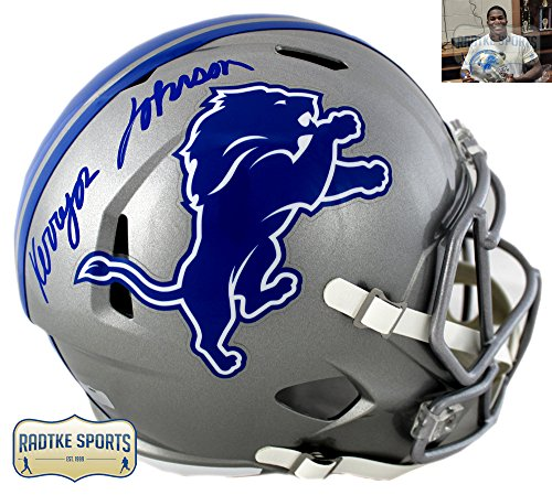 Kerryon Johnson Autographed/Signed Detroit Lions Riddell Speed Full Size Helmet ()