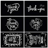 48 Pack of Graduation Thank You Cards with 48 Envelopes and Thank U Stickers, 6 Designs of Chalkboard Thank You Notes Greeting Card Bulk for Graduation, Funeral, Business Greetings, 4 x 6 Inch