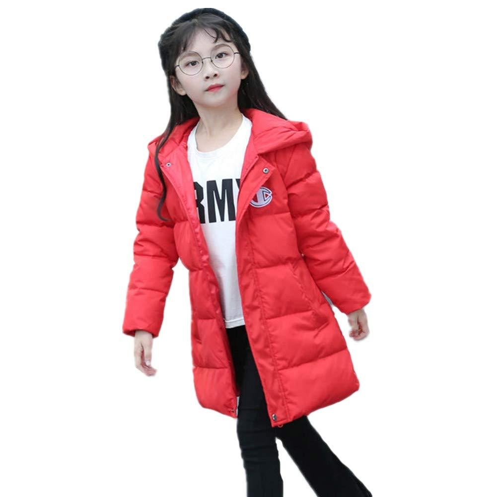 rouge 150cm YZ-HODC Manteau Coupe Simple Enfants d'hiver Unisexe Doudoune Capuche Blanche Duvet de Canard Outwear