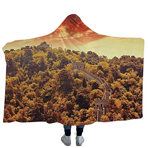 VOUCHERS Hooded Blanket,Great Wall of China,Deluxe Blanket Relieves Anxiety, Stress, Agitation -