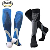 Compression Socks for Men & Women(2 Pairs), BULESK Medical Grade Graduated Recovery Stockings for Nurses, Boost Stamina, Varicose, 20-30 Mmhg Fit for Running, Medical, Flight Travel (Black&Blue)