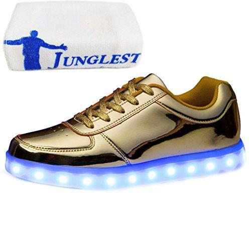 [Present:kleines Handtuch]JUNGLEST® Unisex Damen Herren USB-Lade LED leuchten Glow Schuhe Luminous Sportschuhe Lovers Flashing Turn Gold