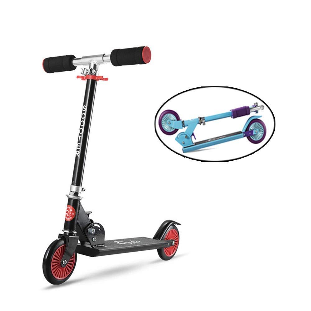 TBTBGXQ Kinderroller Dreiradscooter mit PU Leuchtenden Räder und 4 Stufen Einstellbare Höhe Doppel-Hinterrad Big Wheel für Kinder 3-12 Jahre alt B