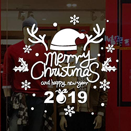 Kimloog 2019 Merry Christmas Vinyl Wall Sticker Removable DIY Window Door Mural Decal (White)