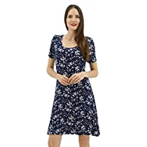 BENANCY Womens A-Line Short Sleeve Casual Floral Midi Dress