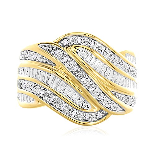 Diamond Brilliant Round Baguette Band (1/4CT Round and Baguette Diamond Wide Swirl Fashion Band for Right Hand)