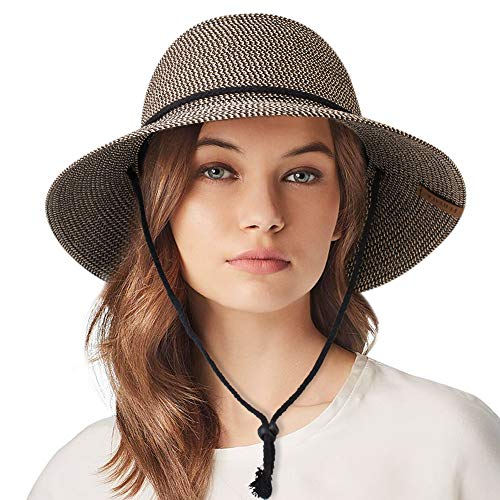Womens Wide Brim Sun Hat with Wind Lanyard UPF Summer Sun Straw Hats for Women (Best Sun Hat For Hiking)