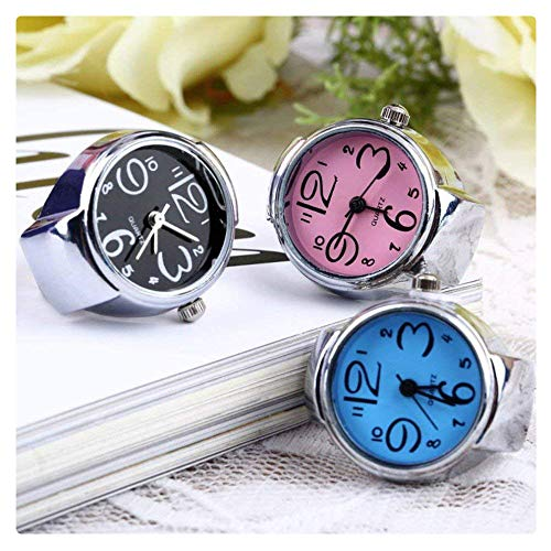 Coolrunner 3pc Creative Fashion Jewelry Lady Girl Steel Round Elastic Quartz Finger Ring ()