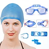 Swimming Goggles and Cap + Ear Plugs + Nose Clip + Goggle Case by Neptune Swim
