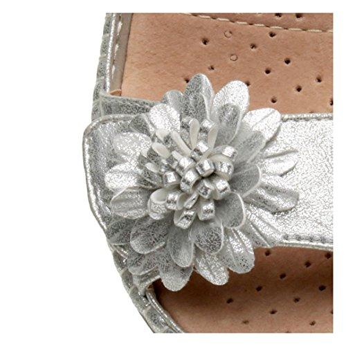 tacco Argento numero comode per camminare sandali fiore zeppa medio casual Donna dnUwqAvzd