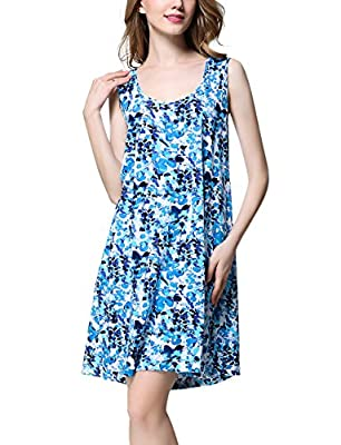 Women Dress Sleeveless Swing Tshirt Nightie for Women Nightgown Sleepwear Nightshirt