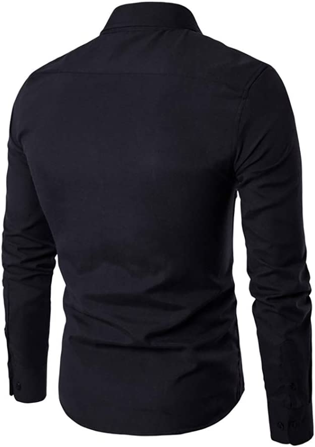Men Shirts New Mens Dress Shirts Long Sleeve Slim Casual Black Social Male Clothes Chemise Homme Color : Black, Size : XL