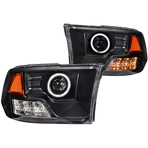 (AnzoUSA 111159 Projector Halo Black Clear Amber CCFL Headlight - (Sold in Pairs) )