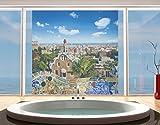 Window Mural Barcelona window sticker window film window tattoo glass sticker window art window décor window decoration Size: 56.7 x 56.7 inches