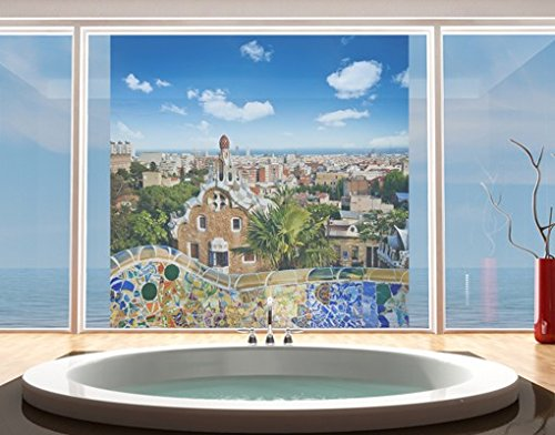 Window Mural Barcelona window sticker window film window tattoo glass sticker window art window décor window decoration Size: 56.7 x 56.7 inches by PPS. Imaging