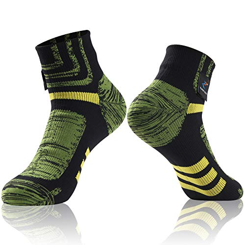 Performance Athletic socks, RANDY SUN Unisex Antiskid Ankle High 100% Waterproof Hiking Jogging Running Socks, 1 Pair-Black&Green Meduim ()