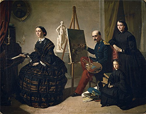 Oil Painting 'Dominguez Becquer Valeriano El Pintor Carlista Y Su Familia 1859', 10 x 13 inch / 25 x 32 cm , on High Definition HD canvas prints, gifts for Basement, Garage And Study Room Decoration