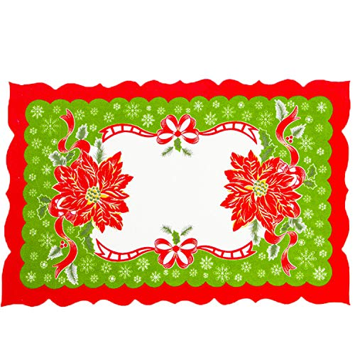 HANBINGPO Christmas Decoration for Home Dinner Table Mats Santa Clause Flower Bell Table Placemat 04