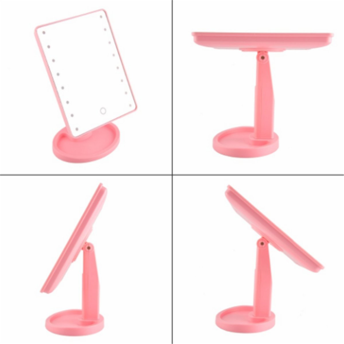 LED Lighted Makeup Mirror, Rotatable & Portable 22 LED Lighted 10X Magnifying Large vanity Mirror with Touch Screen (Pink)